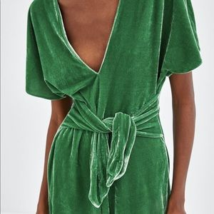 Zara green velvet midi dress